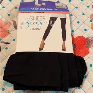 Women's Footless Tights Black Queen Size NWT